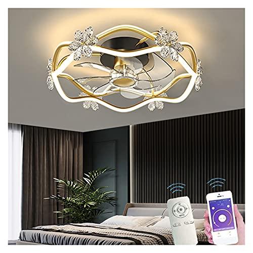 AILIUQIAN Ventilador de Techo Moderno DIRIGIÓ Control Remoto Iluminación Creativa 3 Colores Habitación bebé Lámpara Decorativa Dormitorio Estudio de Vida (Blade Color : Golden, Voltage : 110V)