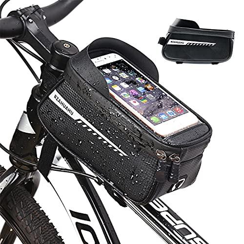LONHCHI Bike Frame Bag Borsa per Bici Borsa per Telaio Impermeabile Touchscreen e Ampio Spazio per Borse Bici Adatta per Smartphone sotto i 6,8 Pollici