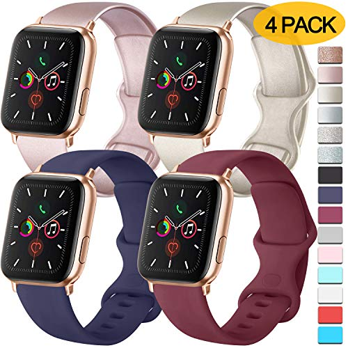 Pack 4 Compatible With Apple Watch Bands 40mm 38mm For Women Men Soft Silicone Bands Compatible With Iwatch Series 6 5 4 3 2 1 Se Rose Gold Gold Navy Blue Wine Red 38mm 40mm M L