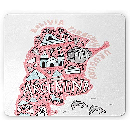Argentijnse muismat, met de hand getekend typografische kaart met noedelelementen, rechthoek antislip rubberen muismat, 25x30cm roze blos