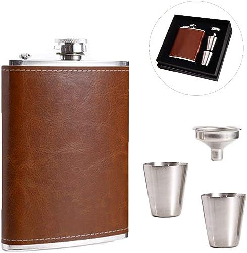 Shinyeagle Flasque a Alcool, 8oz/227mL Cuir Marron Fiole Alcool Portable Acier Inoxydable, 2pcs Tasses et 1pcs Entonn...