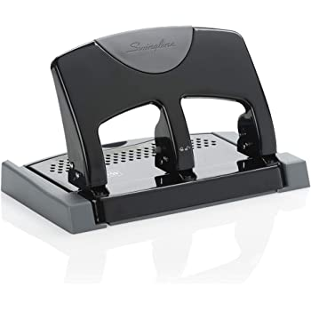 Swingline 3 Hole Punch, Desktop Hole Puncher 3 Ring, SmartTouch Metal Paper Punch, Home Office Supplies, Portable Desk Accessories, 45 Sheet Punch Capacity, Low Force, Black/Gray (74136)