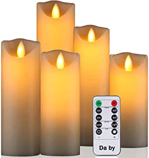 Daby's LED Candle, 5 Llama LED parpadeante (14cm, 15cm, 16cm, 18cm, 20cm), Vela sin llama de 300 horas y control remoto de 10 botones.[Clase de eficiencia energética A].