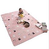 JUANstore Cartoon Teppich Baumwolle rutschfeste Baby Game Pad, Kinderteppich Quadrat Zelt Matratze Mädchen Raum Teppich, Kindergarten Teppich Matte,Rosa,90 * 180cm