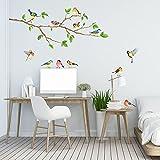DECOWALL DA-1804 Aves de Jardín en la Rama Árbol Vinilo Pegatinas Decorativas Adhesiva Pared Dormitorio Saln Guardera Habitaci Infantiles Nios Bebs