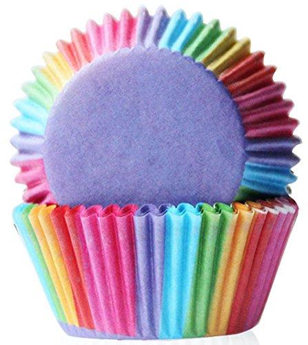 DDLBiZ 100 pz pirottini per muffin e cupcake, rivestimento, incarto, coppetta di carta Rainbow