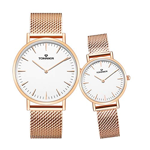 Tonnier Stainless Steel Slim Black Mesh Band Couple Watches His and Hers Watches for Lovers Set of 2 Deep Blue Face