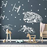 Andre Shop Star Wars Wall Decal - Spacecraft Decal - Starfighters Wall Decal - Star Wars Wall Art - Vinyl Wall Sticker Decal - Boy Room Bedroom Custom Color