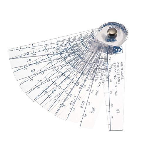 sourcingmap® 0,05-1mm Espesor de plástico taladros Galga Relleno herramienta de medición 13 en 1