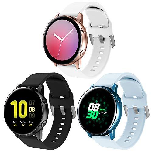 XIMU Silikon Armband Kompatibel mit Samsung Galaxy Watch 3 41mm Armband/Active 40mm Armband/Active 2 Armband/Galaxy Watch 42mm Armband, weiche Silikon Sport Bügel Frauen Männer für Galaxy Watch