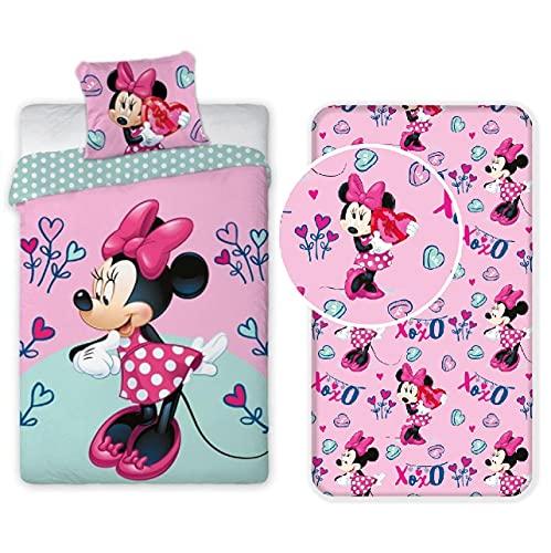 L.T.Preferita Disney Minnie Love 3pezzi Set Letto Singolo Copripiumino + Federa + Lenzuola con Angoli Cotone Biancheria Bambini
