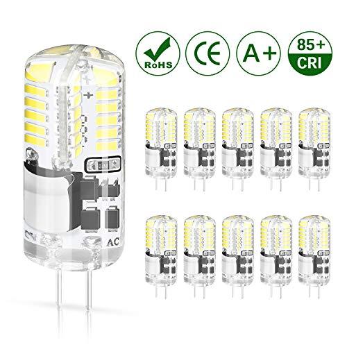 DiCUNO G4 LED Lampe 3W, kaltweiß 6000K, AC/DC 12V Glühlampen, 250 LM, Ersatz für 30W Halogen Lampen, nicht dimmbar,LED Stiftsockellampe, kleine Glühlampe 10-Pack