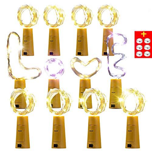 【12 Stück】AMZJUPWM 20 LEDs 2M Flaschen Licht Warmweiß, Lichterkette für Flasche LED Lichterketten Stimmungslichter Weinflasche Kupferdraht, batteriebetriebene für Flasche DIY, Dekor (Warmesweiß)