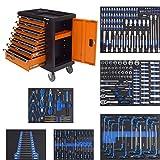 Werkzeugwagen bestückt 249 TLG. XXL Werkstattwagen gefüllt 7 Schubladen + Seitenfach abschließbar...