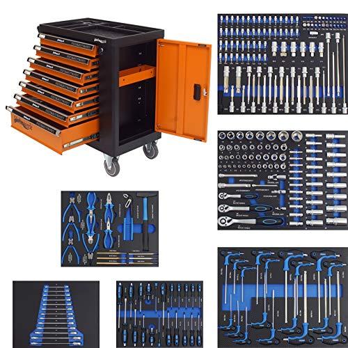 Werkzeugwagen Werkstattwagen gefüllt 7 Schubladen + Seitenfach abschließbar | 249 tlg. XXL bestückt | 6 bestückte Schubladen mit Schaumstoffeinlagen | Montagewagen Assistent