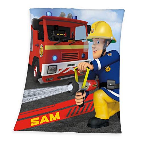 Herding Feuerwehrmann Sam Fleece-Decke, Polyester, mehrfarbig, 130 x 160 cm