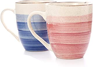 Couples Coffee Mugs Set of 2 - Couple Matching Ceramic Cups Anniversary Gifts for Boyfriend, Matching Gifts for Couples, His and Hers Gifts, Fiance Gifts for Him, Husband Gifts from Wife (Blue & Pink)