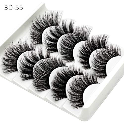 Lucoss Faux Mink Lashes,5 Pairs Fluffy Fales Eyelashes Pack Long Dramatic Fluffy Thick Volume Faux Mink Lashes 3D Mink Lashes Reusable (A6)