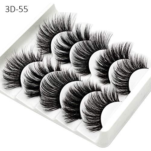 Preisvergleich Produktbild Falsche Wimpern,  5 Paare 3D Wimpern Künstliche Natürliche Schwarz Lange Pure Handgemacht mit Unsichtbares Band Wiederverwendbar