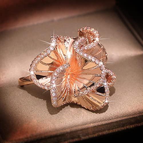 DOOLY Elegante Kamelie Blume Zirkon Eheringe für Frauen Rose Gold Farbe Kristalle Engagement Brautring Trendy Schmuck