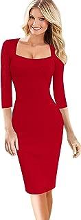 VFSHOW Womens Sexy Elegant Square Neck Work Business Bodycon Sheath Dress