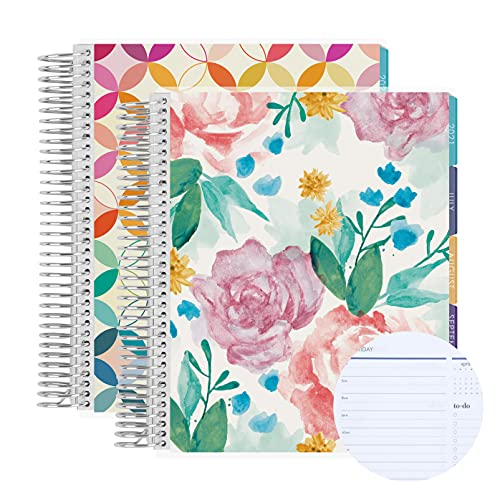 """Set of Two 7"""" x 9"""" - 6 Month Coiled Daily Life Planner (July 2021 - June 2022) Daily Duo, 12 Months Total Agenda/Planning w Watercolor Blooms + Mid Century Circles Covers"""
