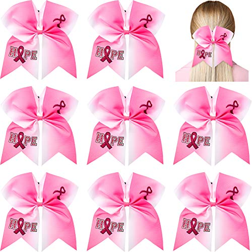 8 Pieces 7 Inch Pink Ribbon Cheerleader Hair Bow Breast Cancer Awareness Large Cheer Hair Bows Glitter Hair Tie Ponytail Holder Hair Accessories for Teens Women Girls