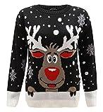 Worldwidetrendz Womens Knitted Rudolf Reindeer Ladies Xmas Christmas Pullover TOP Novelty