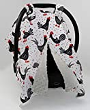 Dear Baby Gear Deluxe Car Seat Canopy, Double Layer Minky, Black and Red Chickens, Gray Minky Dot, 40 x 30 Inches