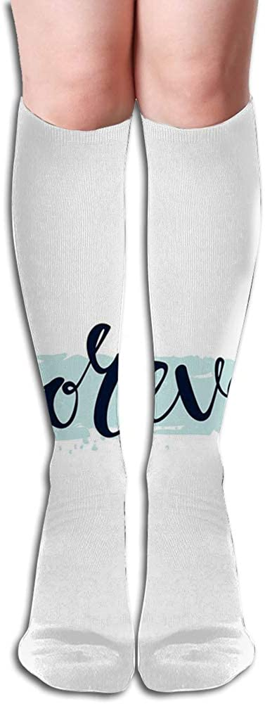 Men's and Women's Funny Casual Combed Cotton Socks,Forever Calligraphic Inscription on Pale Blue Modern Brush Stroke Artsy