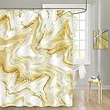 MitoVilla Gelb-Gold Marmor Duschvorhang Set, Abstrakt Modern Duschvorhang für Badezimmer Dekor, Luxus Standard Duschvorhang Liner für Badewanne, Wasserdicht Waschbar Stoff Duschvorhang, 72 x 72