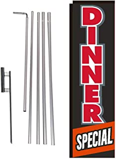 Dinner Special Restaurant Rectangle Feather Banner Flag Sign with Pole Kit and Ground Spike for Restaurants, Markets, Business Owners