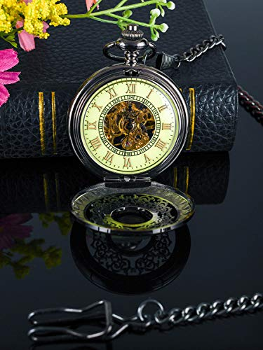 Steampunk Vintage Luminous Roman Letters Skeleton Mechanical Pocket Watch with Chain (Carved - Luminous) steampunk buy now online
