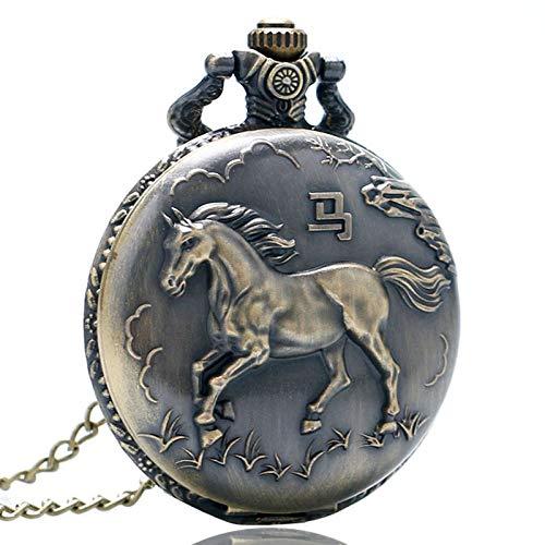 GHKUFH Taschenuhr Antike Bronze Vintage Pferd Chinese Zodiac 12 Carving Zurück Taschenuhr Quarz Lange Neckalce Kette Retro Frauen Männer Geschenke