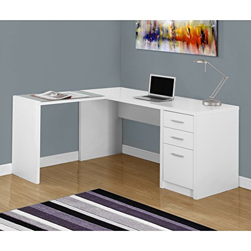 "Monarch Specialties I Corner with Tempered Glass Computer Desk, 60""L x 55""W x 30""H, White"