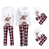 Yumso Pyjama Noël Père Mère Enfant Ensemble Pyjamas Chaud Vêtements de Nuit Noël Col Rond Dessin Animé Cerf Hauts et Treillis Pantalons Famille Pyjamas Tenue d'intérieur