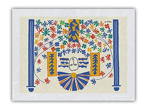 Apollo (Apollon) – Modelo de L'Artiste para un mosaico de azulejos de cerámica – Ilustración de Henri Matisse c.1953 – Papel de arroz con impresión artística 31 x 41 cm