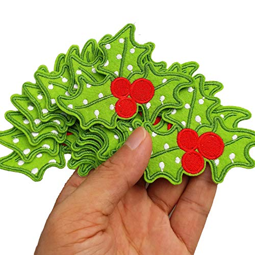 """3""""x2.4"""" 12pcs Christmas X'Mas Holly Leaves Holly pat Iron On Embroidered Patches Appliques Machine Embroidery Needlecraft Sewing DIY"""