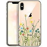 OOH!COLOR Carcasa para Móvil Compatible con Funda iPhone XS MAX Transparente Silicona Slim Suave Bumper Teléfono Caso para iPhone XS MAX con Dibujo Prado de Flores