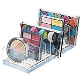 mDesign Organizador de Maquillaje de plástico – Clasificador con 9 Compartimentos para organizar Maquillaje – Bandeja organizadora para Lavabo, tocador o Armario – Transparente/Azul Claro