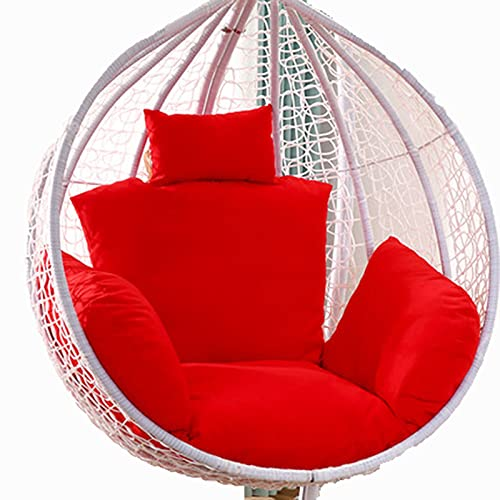 Egg Chair Cushion Only, Hanging Swing Chair Seat Cushion Replacement, Thicken Hanging Hammock Chair Cushion with Headrest and Armrests, Outdoor Garden Chair Pads Red