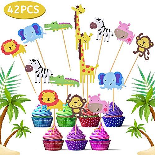 FORMIZON 42 Stuks Cupcake Toppers, Jungle-thema Cupcake Toppers, Leeuw Nijlpaard Aap Olifant Zebra Giraffe Krokodil Taarttoppers voor Kinderen Babyfeestje Verjaardagsfeestje Taartdecoratie