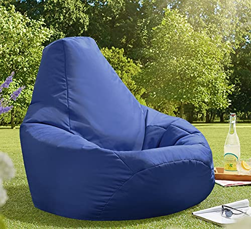 Beautiful Beanbags Adult Highback Beanbag Large Bean Bag Chair for Indoor and Outdoor Use - Water Resistant- Perfect Lounge or Gaming Chair - Home or Garden Bean Bag - Manufactured in UK (Blue)