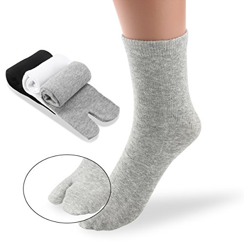 PIXNOR - 3 pares de calcetines con punta Tabi de algodón elástico (color blanco, gris y negro)