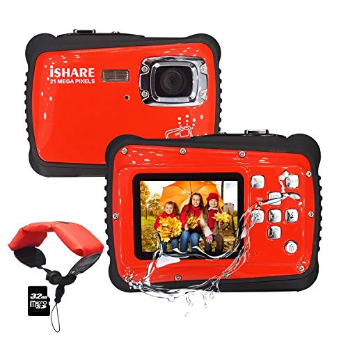 Kids Camera,3M Waterproof Camera with 2.0 Inch LCD Display,21MP HD Digital Camera for Children Include 32G Micro SD Card and Float Strap Red…