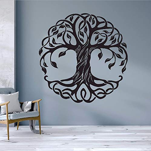 WACYDSD Árbol Tatuajes De Pared Árbol De La Vida Tatuajes De Pared Mandala Círculo Árboles De Vinilo Mural Extraíble Decoración para El Hogar Decoración De Yoga 57X57 Cm