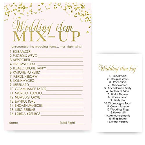 Pink and Gold Bridal Shower Games Word Scramble Trivia Set of 25