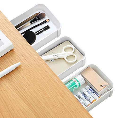 Surmounty selbstklebende Schublade 3Pcs Versteckte Schreibtischorganizer, Schublade Federmäppchen Unterbau Schreibtisch Schublade, Weiß Schublade Stiftebox, Hidden Desktop für Büro Tisch