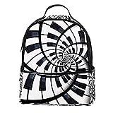 ATOMO Mini mochila casual negro y blanco piano redondo espiral PU cuero viajes compras bolsas Daypacks