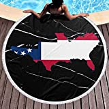 Flag Map of The Confederate States Round Beach Towel 59 Inch...